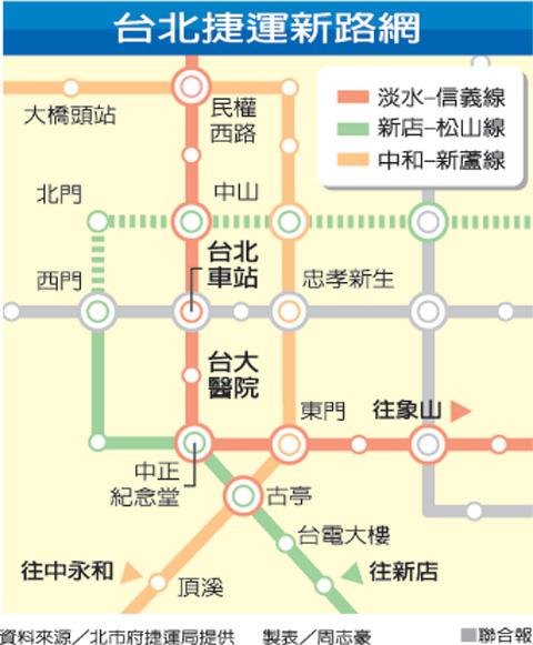 台北捷運路線圖 (Taipei MRT Route Map) (1/2)