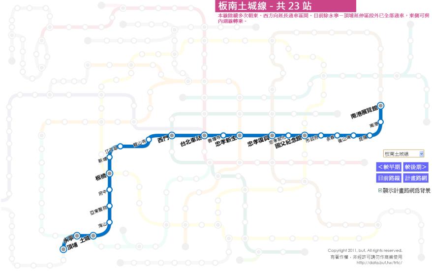 台北捷運路線圖歷史(11) 板南土...