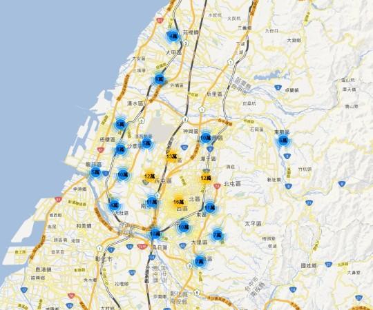 實價登錄地圖 - 台中市 大樓公寓華廈套房