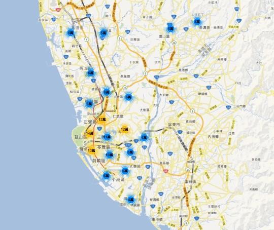 實價登錄地圖  - 高雄市 大樓公寓華廈套房