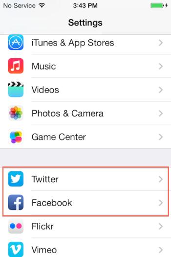 setting Facebook & Twitter