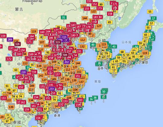 大陸 韓國 日本 台灣 空氣質量