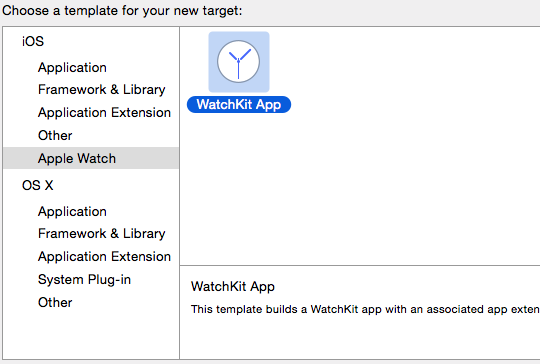 new target watchkit app