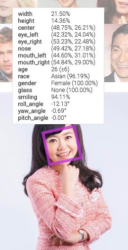 人臉偵測資訊 Face++ website2