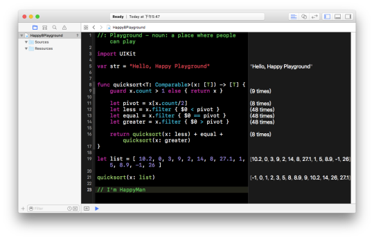 Xcode 8 playground quick sort.png